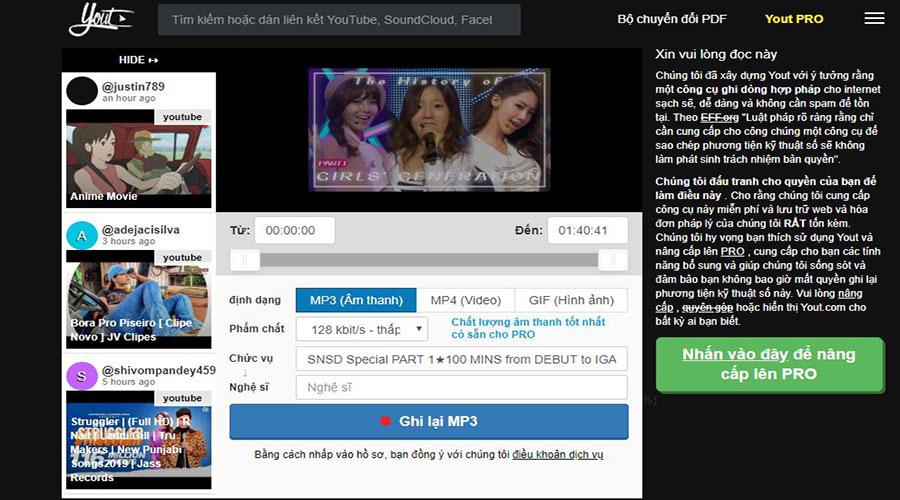 Chọn định dạng file trên Yout.com trước khi tải về