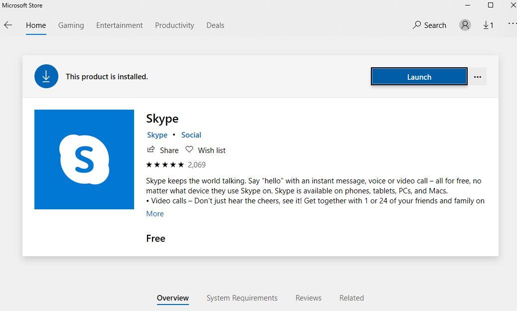 Download Skype trực tiếp trên Windows Store