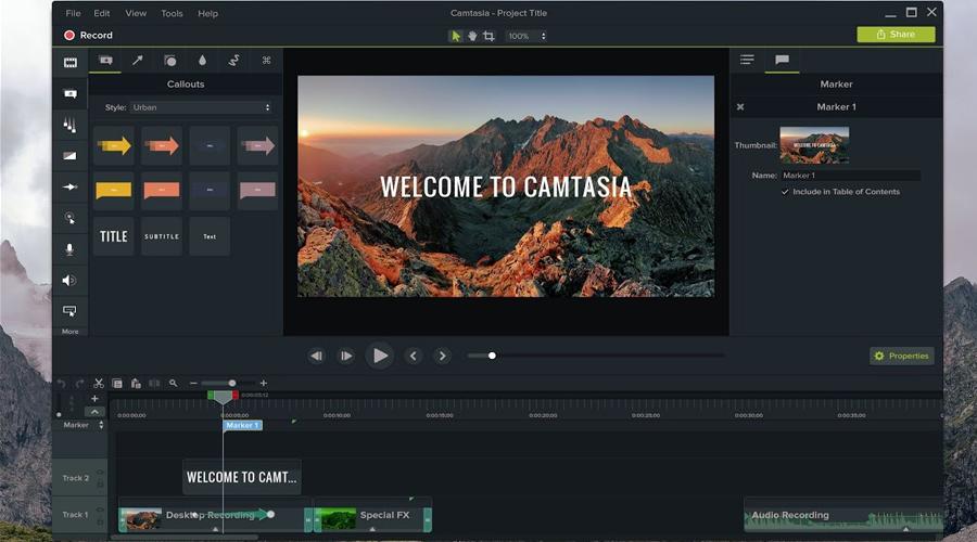 Phần mềm làm video từ ảnh Camtasia Studio