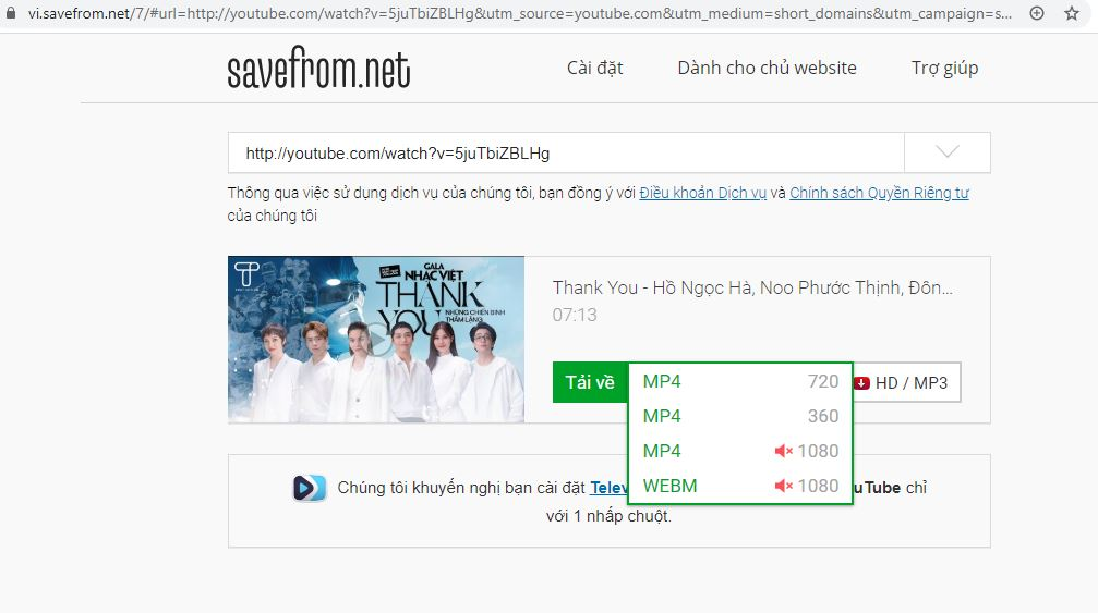 Thêm ss vào trước từ youtube để chuyển web về trang SaveFrom
